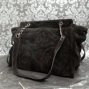 Chanel Brown Suede Tote Shoulder Bag!! Stunning!